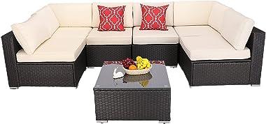 Furnimy 7 Pieces Patio Furniture Sets Outdoor Furniture Sectional Sofa Patio Conversation Set Outdoor Patio Furniture Set Rat