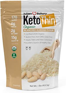 Julian Bakery Keto Thin Organic Blanched Almond Flour (3 lbs)(Low Carb)(Gluten-Free)(Grain-Free)(48 Servings Total)(3 Pack)