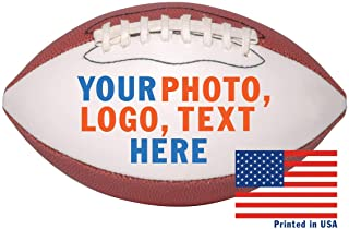 Custom Personalized Football - 9 Inch Mid Sized Football - Ships in 3 Business Days, High Resolution Photos, Logos & Text on Football Balls - for Trophies, Personalized Gifts
