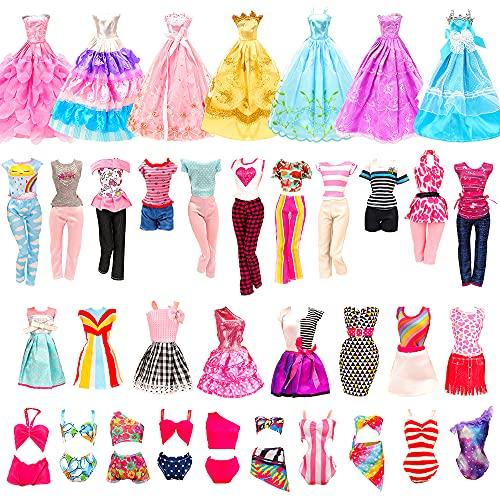 Miunana 21 sztuk odzieży dla lalek = 5 sukienek + 5 topów + 5 spodni/spódnic + 3 sukienki wieczorowe + 3 stroje kąpielowe dla lalek dziewczynek 30 cm