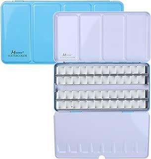 MEEDEN Empty Watercolor Tins Box Palette Paint Case, Large Blue Tin with 48 Pcs Half Pans