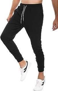 comprar comparacion Sykooria Pantalones Deportivos de Algodón para Hombres Jogger de Ajustado Pantalón Chándal con Bolsillos y Trabillas para ...