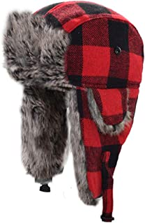 Hat Fashion Winter Warm Thick Ski Balaclava With Ear Flap Face Mask Motorcycle Face Shield For Men Women Neck Warmer For Winter Outdoors Cycling Snowboarding Hiking Red Black Classic Lattice Pattern T