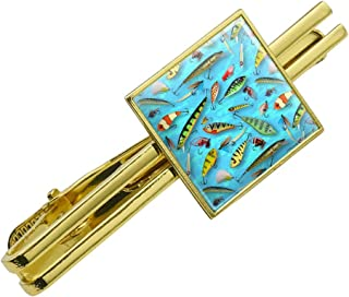 GRAPHICS & MORE Fishing Flies Lures Fish Pattern Square Tie Bar Clip Clasp Tack- Silver or Gold