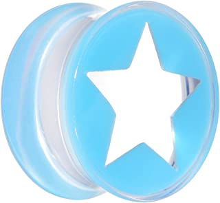 "Body Candy 5/8"" Clear Light Blue Acrylic Wish on a Star Saddle Ear Gauge Plug (1 Piece)"