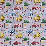 Muster Baumwollstoff mit Autos, Baustelle, Kran, Ampel,