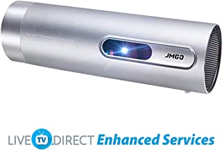 CACACOL Updated JMGO P3 Portable Cinema Mini Projector | DLP 3D Android | 1080p Full HD | Auto Focus | Wi-Fi Bluetooth HDMI | 15600mAh Battery | Hi-Fi Stereo Speaker