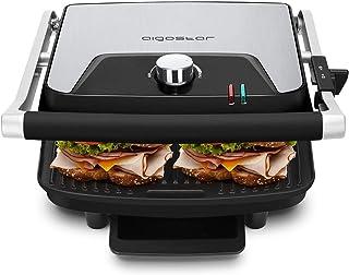 Aigostar Samuel - Grill multifunction 0% BPA, plancha, presse à paninis, appareil à sandwichs en acier inoxydable et alumi...