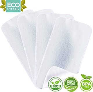 Organic Bamboo Burp Cloths - Thickening 2 Layer Ultra Absorbent Burping Cloth for Baby Boys and Girls, Newborn Essentials Towel - Milk Spit Up Rags - Burpy Bib for Unisex - White (4-Pack)