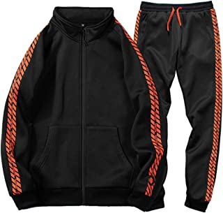 Men Tracksuit Set Full-Zip Sweatshirt Jogger Sweatpants Warm Sports Suit Gym Training Wear