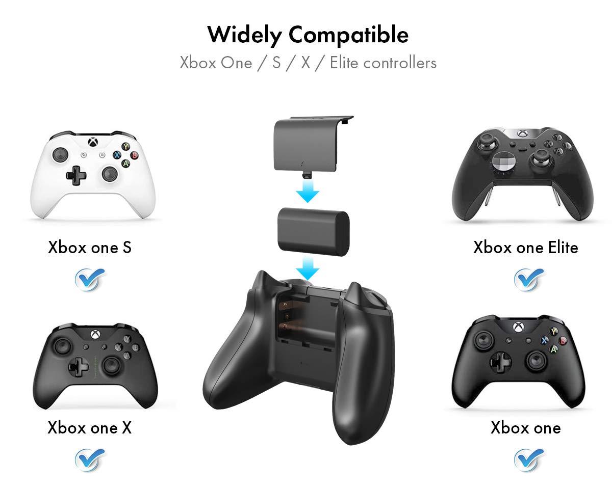Batería de Litio Recargable para Controlador Xbox One, ElecGear 2x 1200mAh Pilas Lithium Kit de Carga y Juega para Mando Xbox One, One S, One X, Elite con 2x Cable de Carga