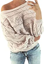 JOFOW Women Solid Sweater,Off Shoulder Flowers Weave Grain Knitwear Vintage Soft Comfy New Casual Knitted Tops Pullover
