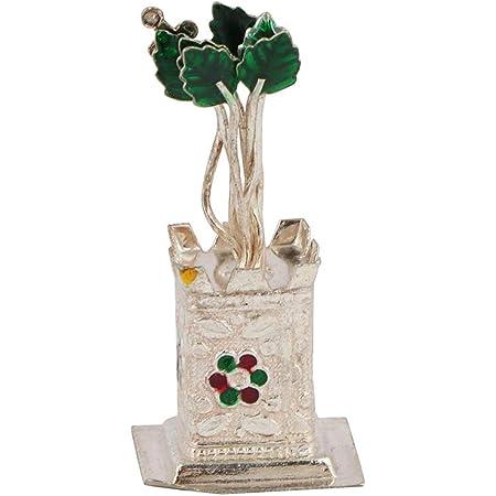 Msa Jewels Tulsi Plant {Holy Basil } Decor 92.5 Pure Sterling Silver (15 GMS) for Puja, Diwali Gift,New Year Gift,Housewarming, Hindu Deity Pooja, Spiritual Worship, Wealth, Luck & Prosperity.