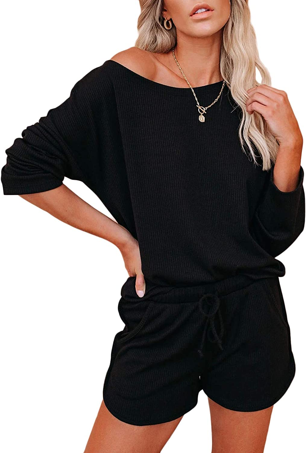 Womens Ribbed Short Sets 2 Piece Outfits Knit Lounge Pajama Set Long Sleeve Pullover Top and Shorts