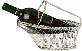9.75 Inch Silver Plated Wine Bottle Cradle with Basket Weave Design