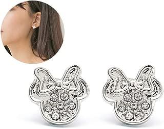 argent Sterling plaqu/ées or rose zircone cubique Findout-F1783-Boucles doreilles creuses en forme de t/ête de Mickey pour femme et fille