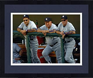 Framed Joe Torre Don Zimmer and Mel Stottlemyre Triple Signed On Dugout Steps 16x20 Photo (Signed in Blue)(MLB Auth) - Steiner Sports Certified