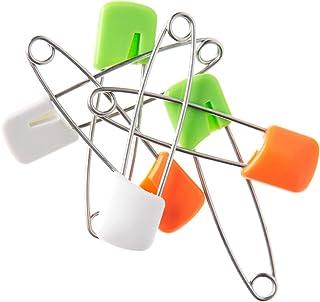TOMMEE TIPPEE Slide Lock Nappy Pins (6-Pack), White, Green, Orange
