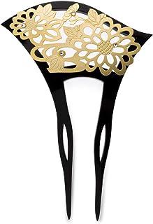 (ソウビエン) バチ型簪 黒 金色 菊 花 ラインストーン フォーマル 二本足 日本製