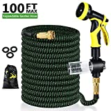 Uverbon 30m Extendable Garden Hose with Solid Brass Connectors, Triple Latex Core 9, Heavy-Duty Flexible Garden Hose for Garden, Lawn