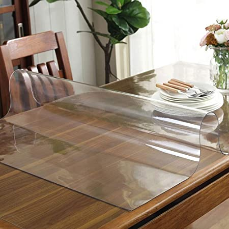 uyoyous 79 x 37 Inch 2mm Clear PVC Table Cover Protector Transparent Tablecloth Pad Plastic Desk Mat Vinyl Waterproof Heat Resistant for Dining Table Office Desk Coffee Table
