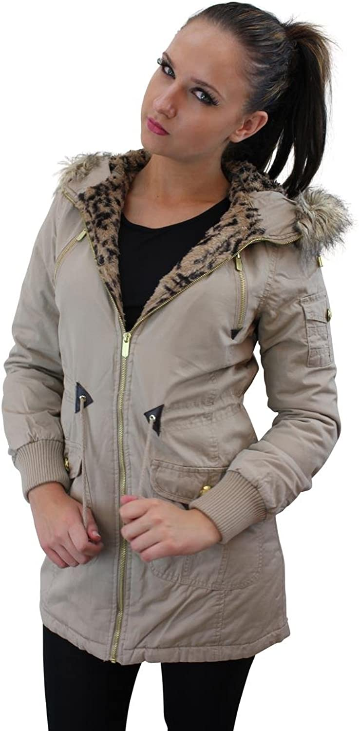 Girl Talk Clothing Brave Soul Hooded Parka with Fur Leopard Print Lining