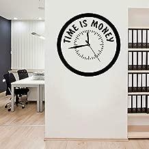 SLQUIET Personalizable inspiración cita tiempo es dinero calcomanía reloj estilo vinilo pegatina oficina motivación mural regalo único pegatina de pared blanco M 42x42cm