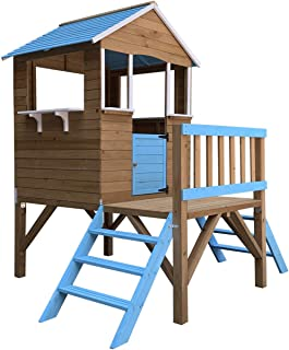 Outdoor Toys Casita Infantil de Madera Blue Melody 3,23 m² de 198x170x197 cm con Porche y Escaleras