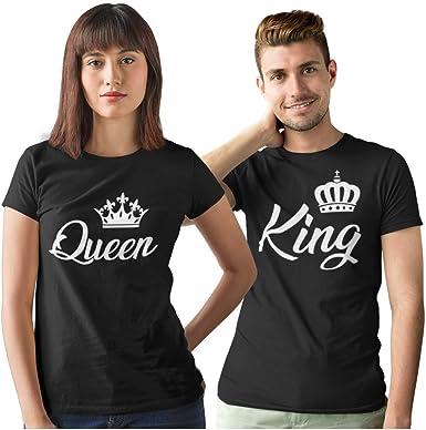 Pack de 2 Camisetas Negras para Parejas King y Queen Corona Blanca