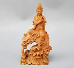 Sculpture,Collection Chinese Wood Carved Guanyin Kwan-Yin Bodhisattva Riding Dragon Exquisite Buddha Statues