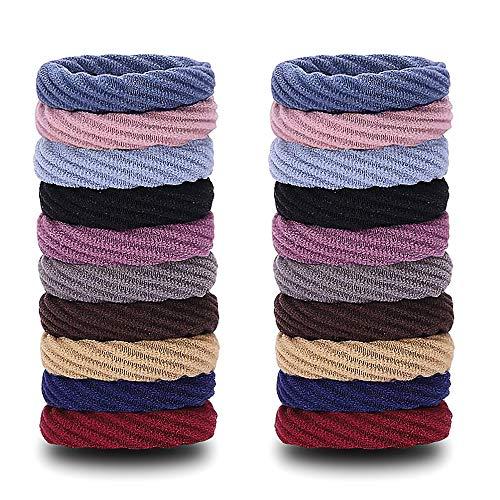 FLZONE 20 Stücke Nahtlose Baumwolle Stretchbar Haargummis Elastische Haar Gummibänder für Lockiges und Dickes Schweres Haar (Spiralstil)