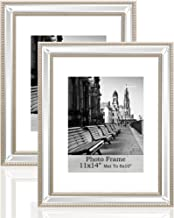 Meetart Silver Bead Mirror Photo Frames Sets 2 Pack Picture 11x14 inch mat to 8x10