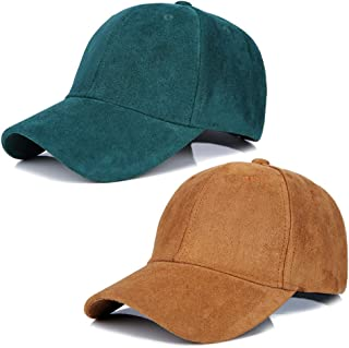 LOCOMO Hats 2 Pack Men Women Matching Hat Baseball Cap Faux Suede Multicolor