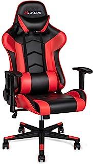 mfavour Silla de Gaming , Silla Gamer Ergonómico (180 °) silla giratoria ergonómica, silla de oficina ergonómica, rojo, almohadilla ajustable para la cintura
