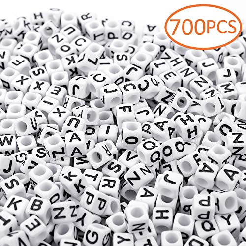 700PCS White Letter Cube Beads for Jewelry Making DIY Necklace Bracelet (6mm)