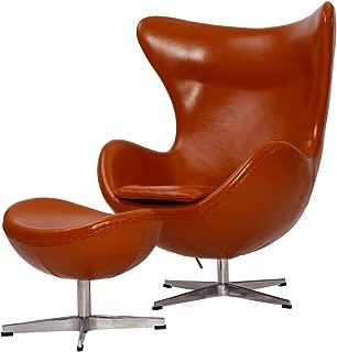 MLF Arne Jacobsen Egg Chair & Ottoman Premium Aniline Leather & Hand Sewing. High Density Foam. Swivel, 4 Star Satin Polished Aluminum Base Strong Fiberglass Inner Shell.(Light Brown)