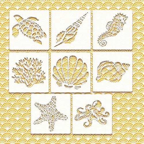 Riveryy 8 Stück Cartoons Ozean Tiere Schablonen Malschablonen aus Kunststoff Schablonen Wiederverwendbar für Scrapbooking Fotoalbum, DIY Geschenkkarten, Geschenke Kinder (13 x 13 cm)