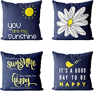 MIULEE Pack of 4 Decorative Throw Pillow Covers Farmhouse Cotton Linen Quote Words Pillowcases Cushion Cover Shell for Car Sofa Bed Couch Bench Bird Sunshine Flower 18 x 18 Inch Navy Blue
