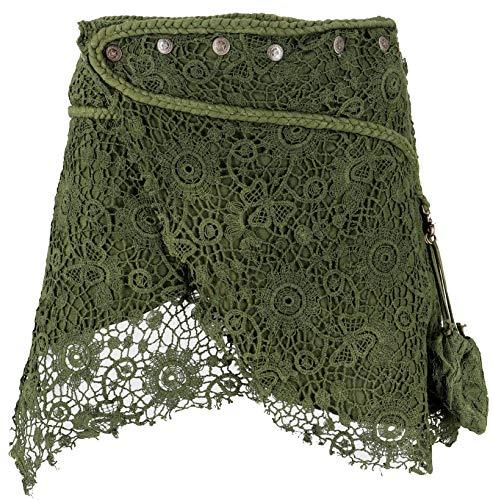 Guru-Shop Psytrance Goa Minirock, Wickelrock, Cacheur, Damen, Olivegrün, Baumwolle, Size:38, Kurze Röcke Alternative Bekleidung