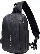 Sac en Cuir Sling Vintage PU /Étanche Poitrine Sac Hommes Casual Polyvalent Crossbody Pack avec USB Port de Charge pour Les Activit/és en Plein Air Randonn/ée V/élo Black