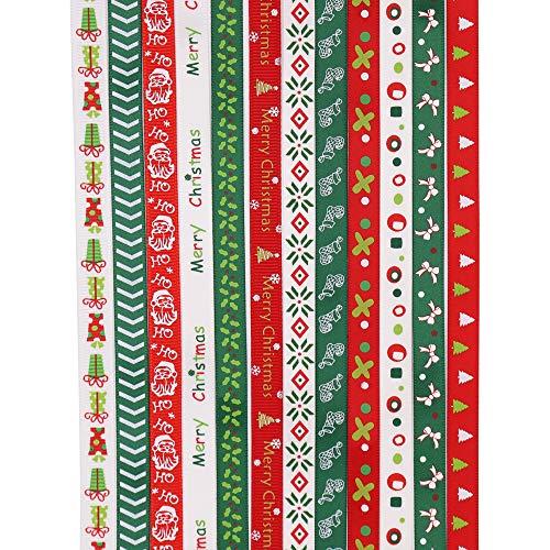 Transino Weihnachtsband 12 Stück Dekoband Weihnachten Satinbänder Ripsband Satinband Geschenkband Weihnachtsbänder für Geschenkverpackung Weihnachten Hochzeit Verzieren DIY Handwerk
