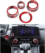 Thor-Ind 4pcs Aluminum Interior Console Trim for Honda CRV CR-V 2017 2018 2019 AC Air Conditioning Knob Start Stop Button Navigation Volume Knob Cover Trim (Red)