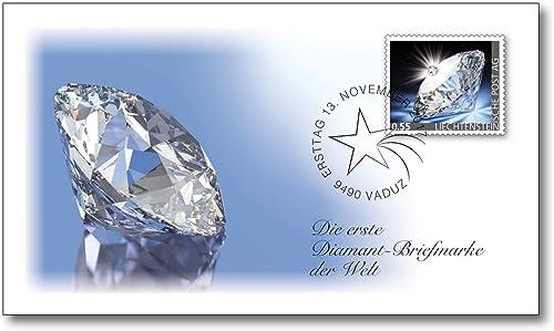 Diamant   Briefürke   Ersttagsbrief   t kostbarem von Hand aufgebrachtem Diamant   echtenstein