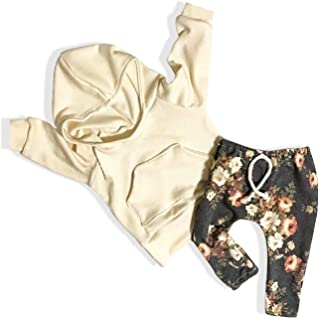 Baby Girl Winter Clothes Long Sleeve Hoodie Sweatshirt Floral Pants Outfit with Pocket