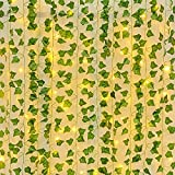 Whonline 95ft 14pcs Artificial Vines with Lights Ivy Garlands with 200 LED 65ft String Lights Faux Silk Greenery Garland for Party Wedding Home Garden Decor