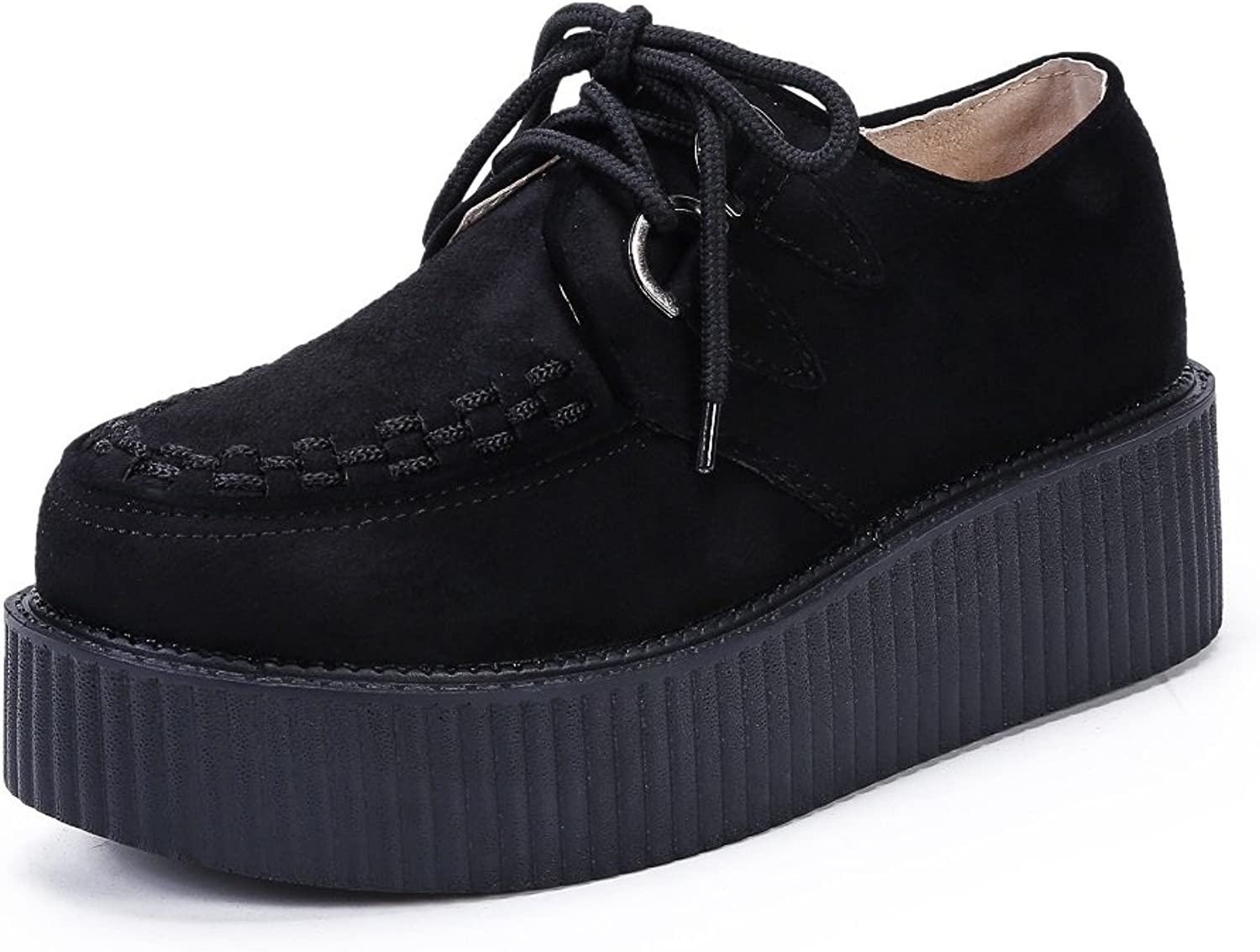 YORWOR Women's Creepers Wedge Platform shoes Lace-up Flat Fashion Oxford