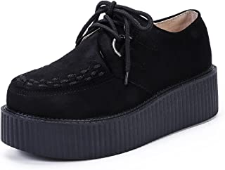 Women's Creepers Wedge Platform Shoes Lace-Up Flat Fashion Oxford