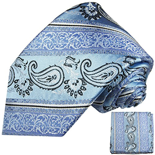 Bleu paisley ensemble de cravate 2 Pièces ( 100% Soie Cravate + Mouchoir )