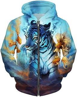 S-5XL Creative 3D Print Hoodies Tiger Goldfish Printed Men Hoodie Sweatshirt Pullover Fashion Men Casual Sportstyle Wear