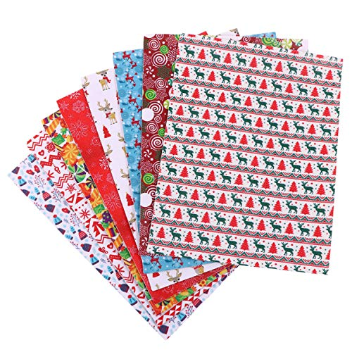 EXCEART 8pcs Christmas Faux Leather Sheets 16 x 21 cm Reindeer Lollipop Pattern DIY Synthetic Leather Fabric Xmas Jewelry Hair Bow Making Accessories
